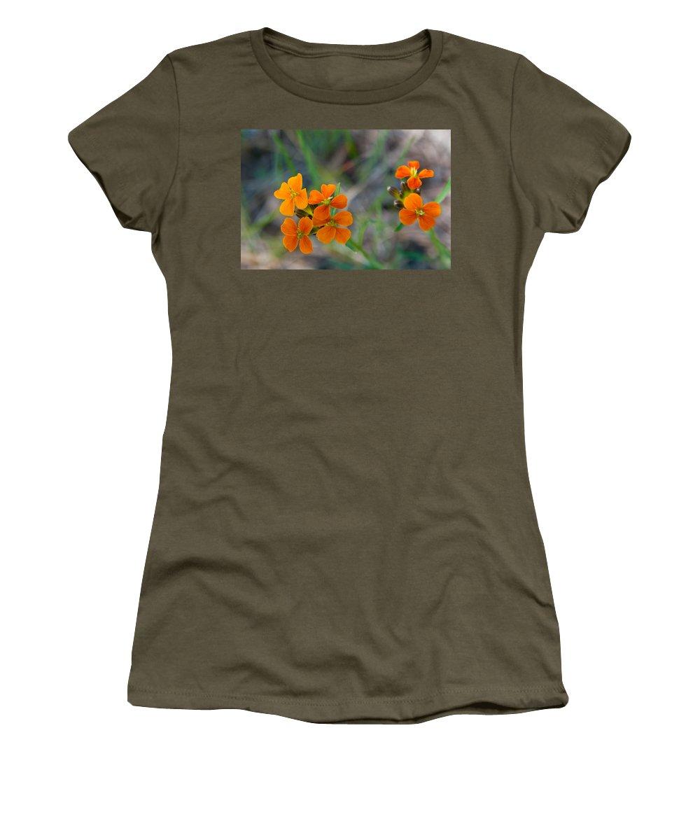 Wallflower Women's T-Shirt featuring the photograph Wallflower Wildflower by Cascade Colors