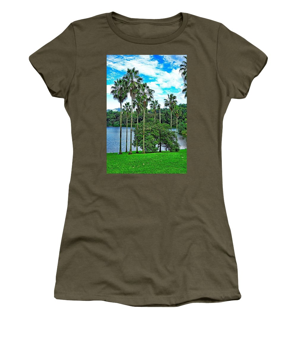 Waokele Pond Women's T-Shirt featuring the photograph Waokele Pond Palms And Sky by Robert Meyers-Lussier