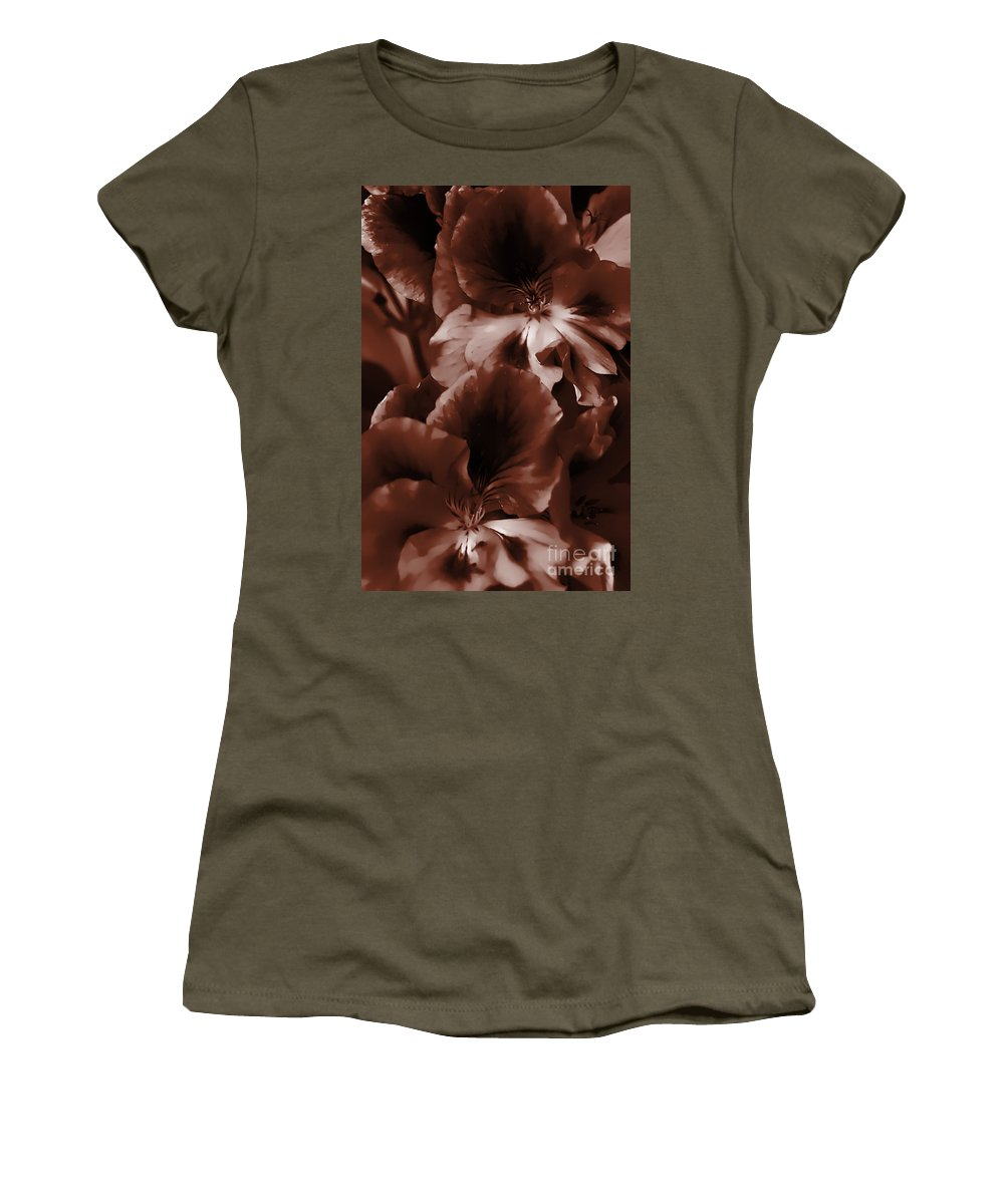 Clay Women's T-Shirt (Athletic Fit) featuring the photograph Warm Tone Monochrome Floral Art by Clayton Bruster