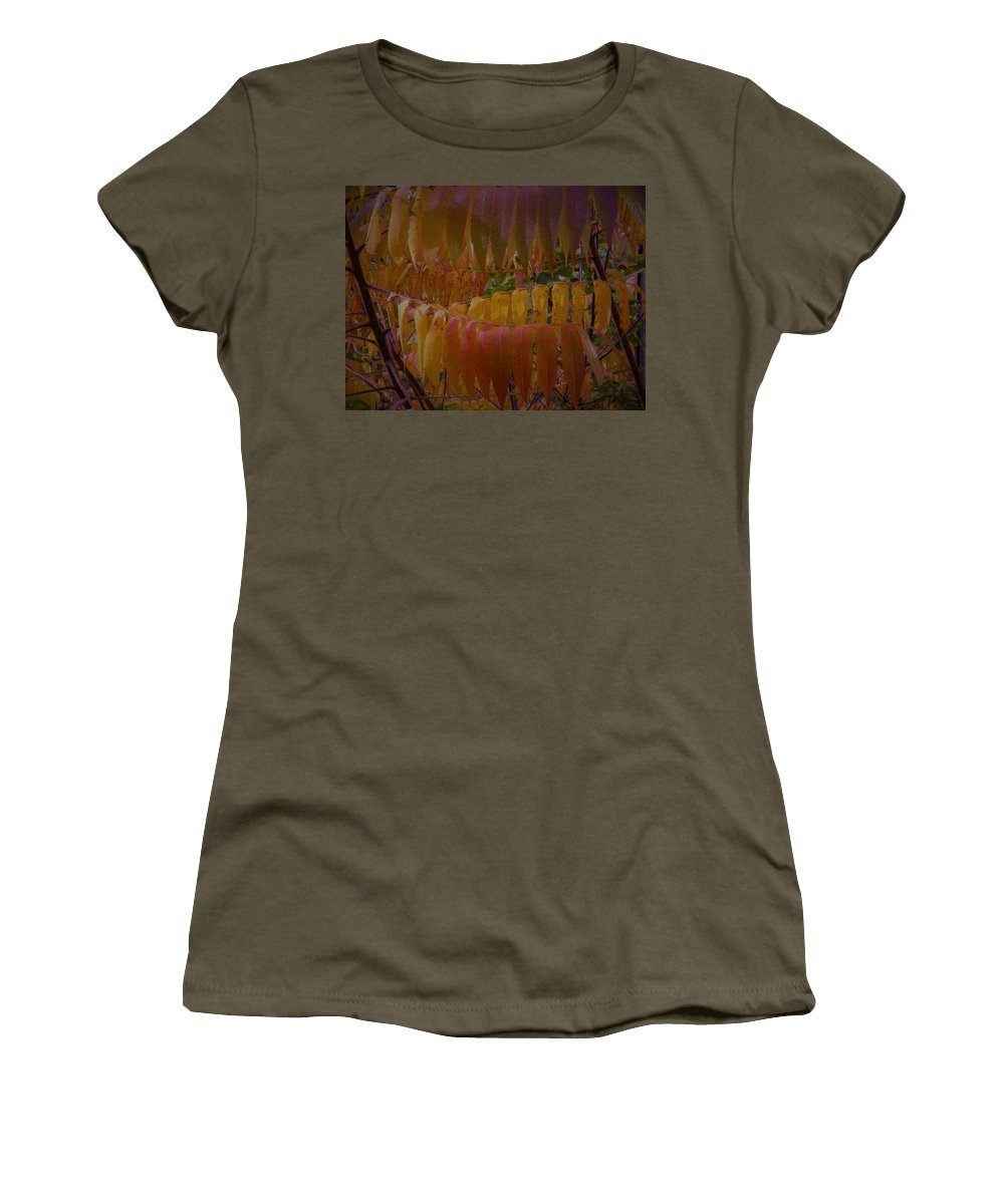 Autumn Leaves Amber Yellow Golden Gold Soft Women's T-Shirt featuring the photograph Warmth Of Autumn by The Sangsters