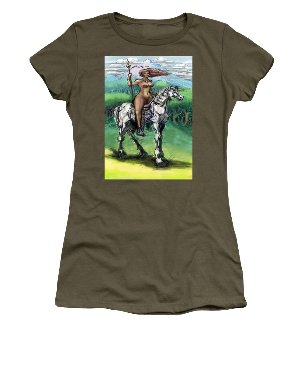 Warrior Women's T-Shirt featuring the painting Warrior Maiden by Kevin Middleton