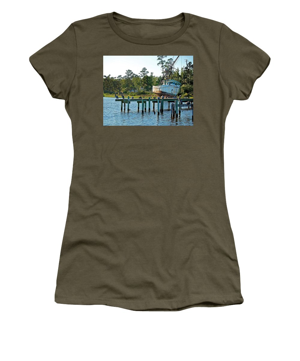 Shrimp Boat Women's T-Shirt featuring the painting Watching Morning Star by Michael Thomas