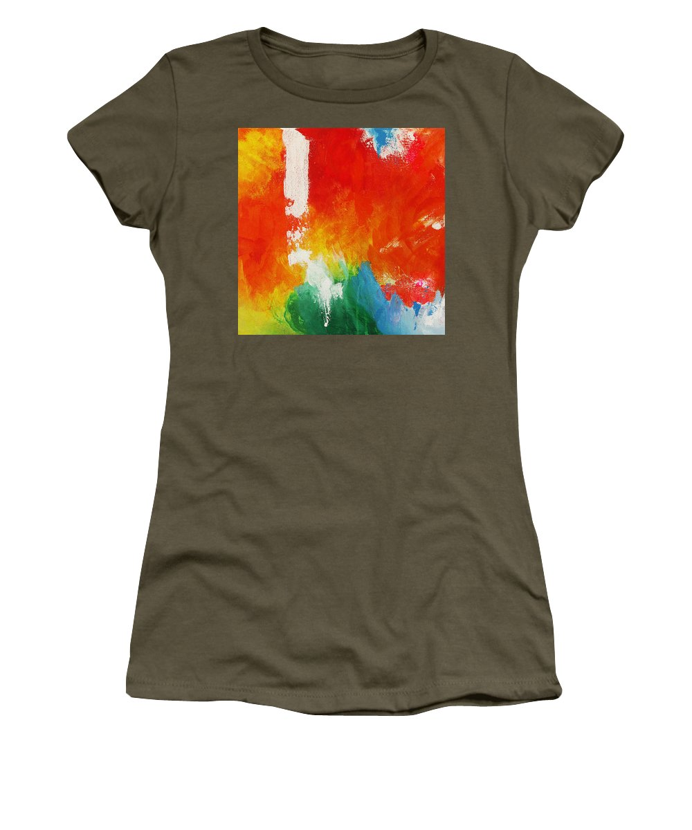 Water And Fire Women's T-Shirt featuring the painting Water And Fire by Kathleen Wong