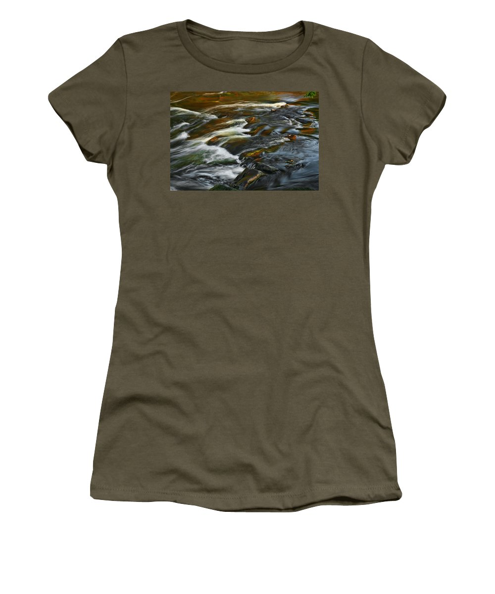 Water Rocks Stream Color Photography Photograph Women's T-Shirt (Athletic Fit) featuring the photograph Water Colors by Shari Jardina