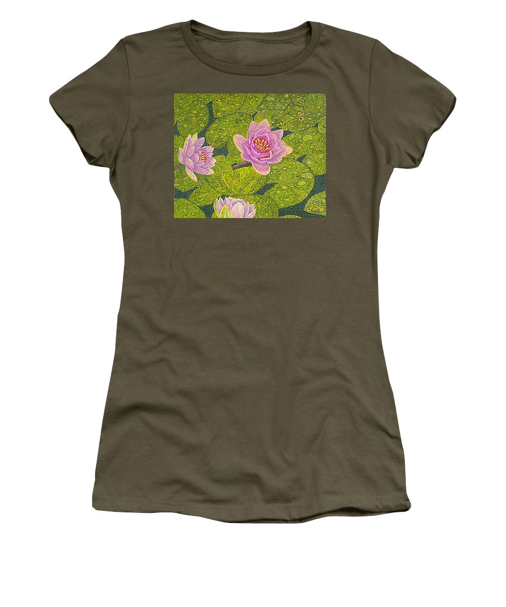 Water Lilies Women's T-Shirt (Athletic Fit) featuring the drawing Water Lilies Lily Flowers Lotuses Fine Art Prints Contemporary Modern Art Garden Nature Botanical by Baslee Troutman