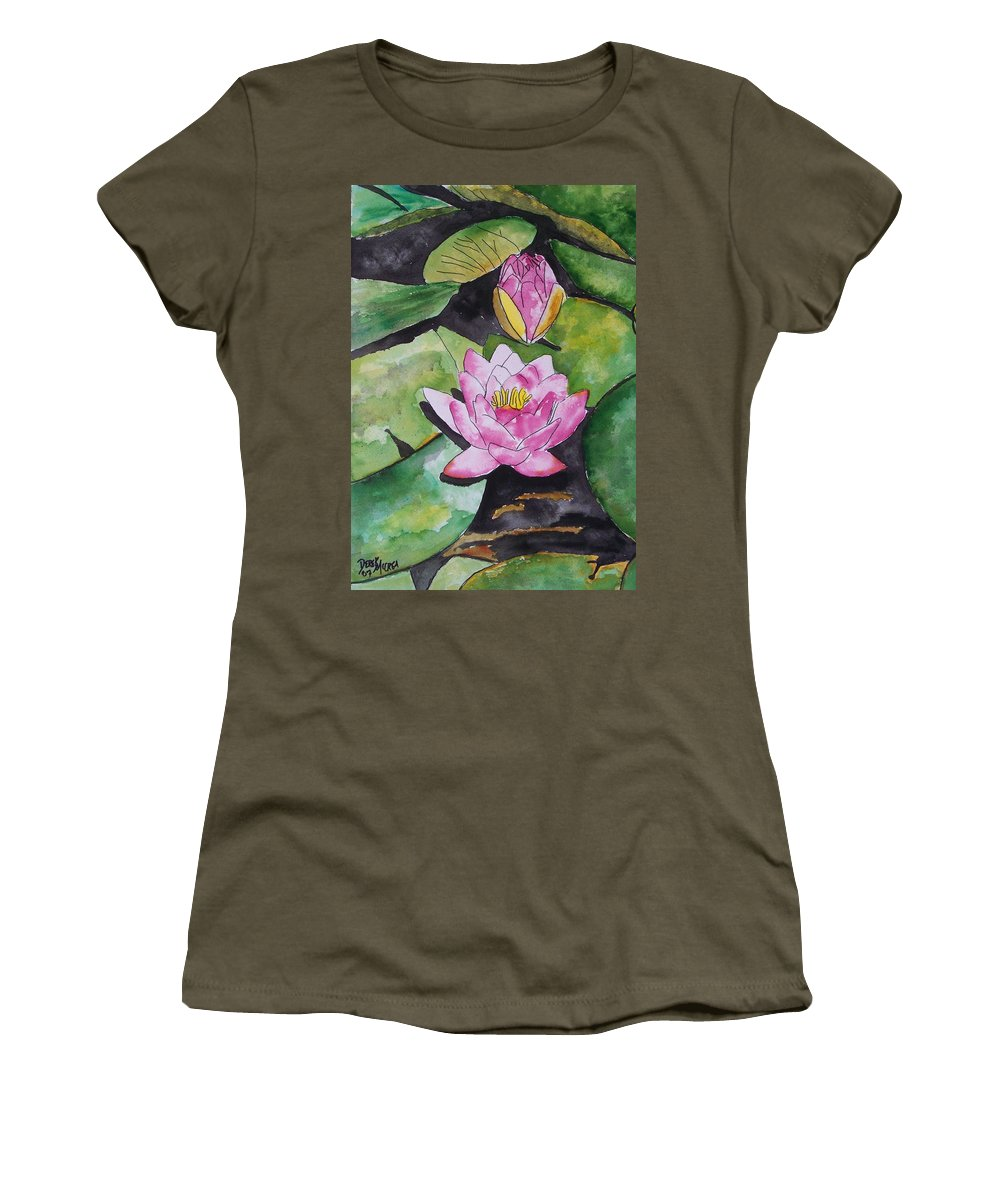 Water Lily Women's T-Shirt (Athletic Fit) featuring the painting Water Lily by Derek Mccrea