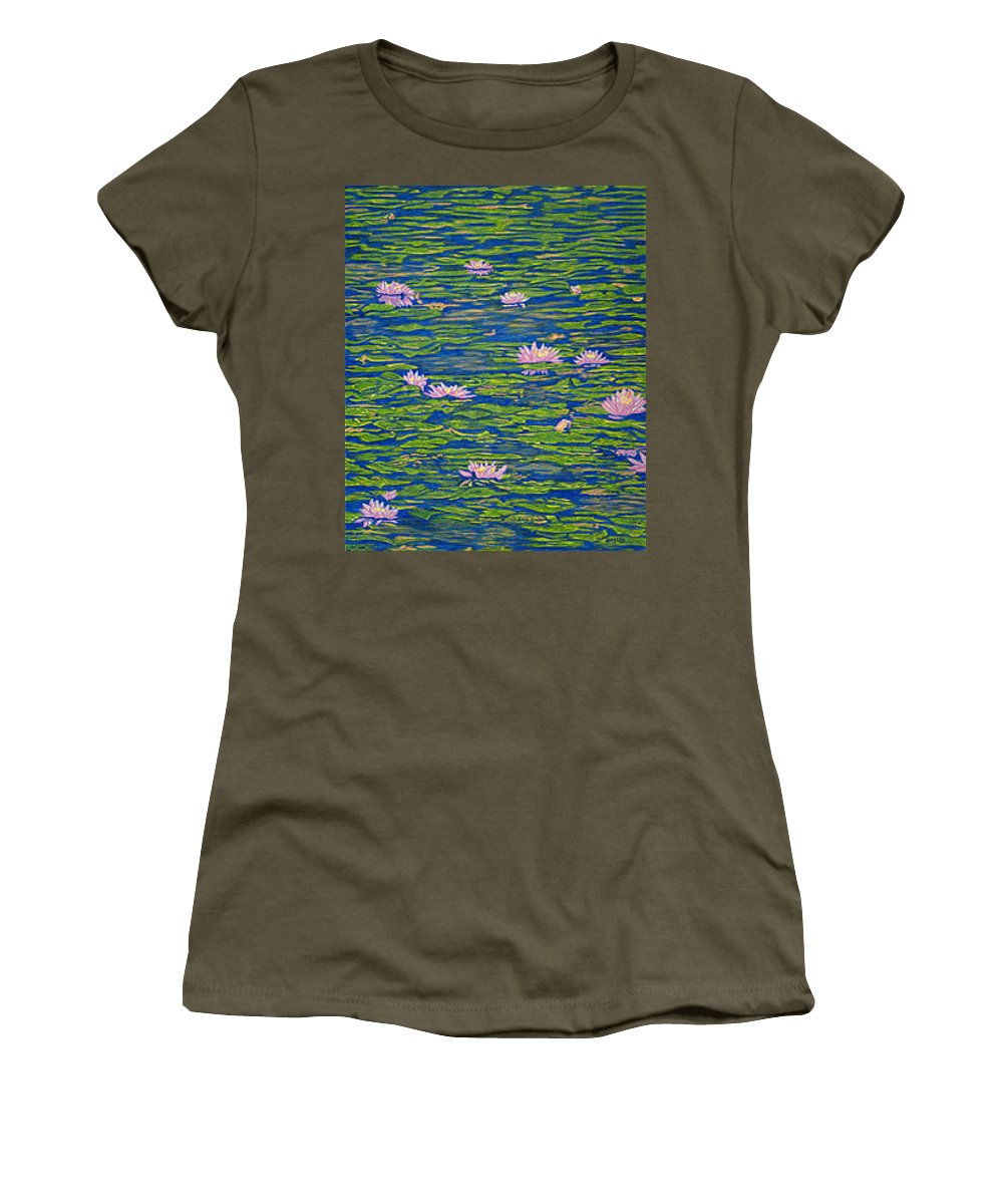 Lotuses Women's T-Shirt (Athletic Fit) featuring the drawing Water Lily Flowers Happy Water Lilies Fine Art Prints Giclee High Quality Impressive Color Lotuses by Baslee Troutman