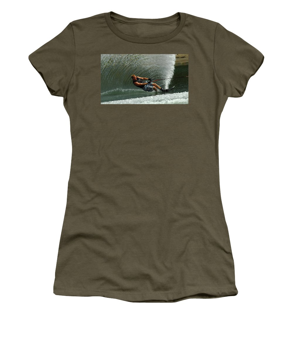 Water Skiing Women's T-Shirt featuring the photograph Water Skiing Magic Of Water 11 by Bob Christopher