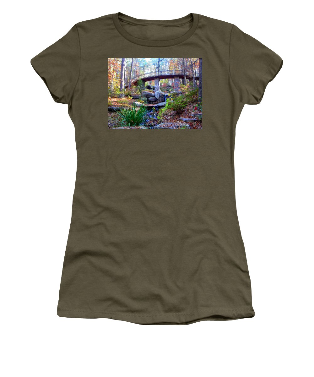 Waterfall Women's T-Shirt (Athletic Fit) featuring the photograph Waterfall And A Bridge In The Fall by Anne Cameron Cutri