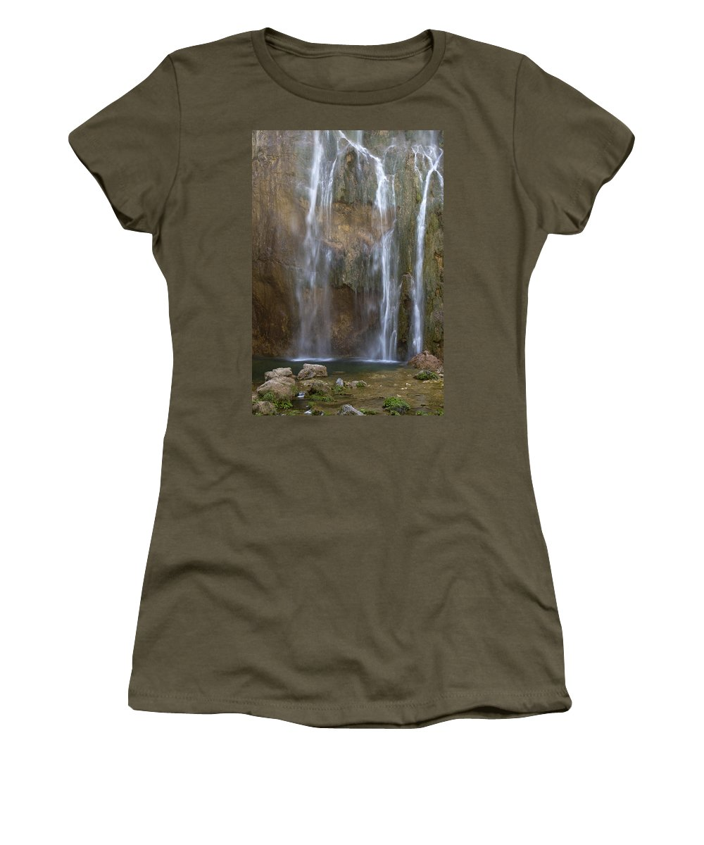 Waterfall Women's T-Shirt (Athletic Fit) featuring the photograph Waterfall by Daniel Csoka