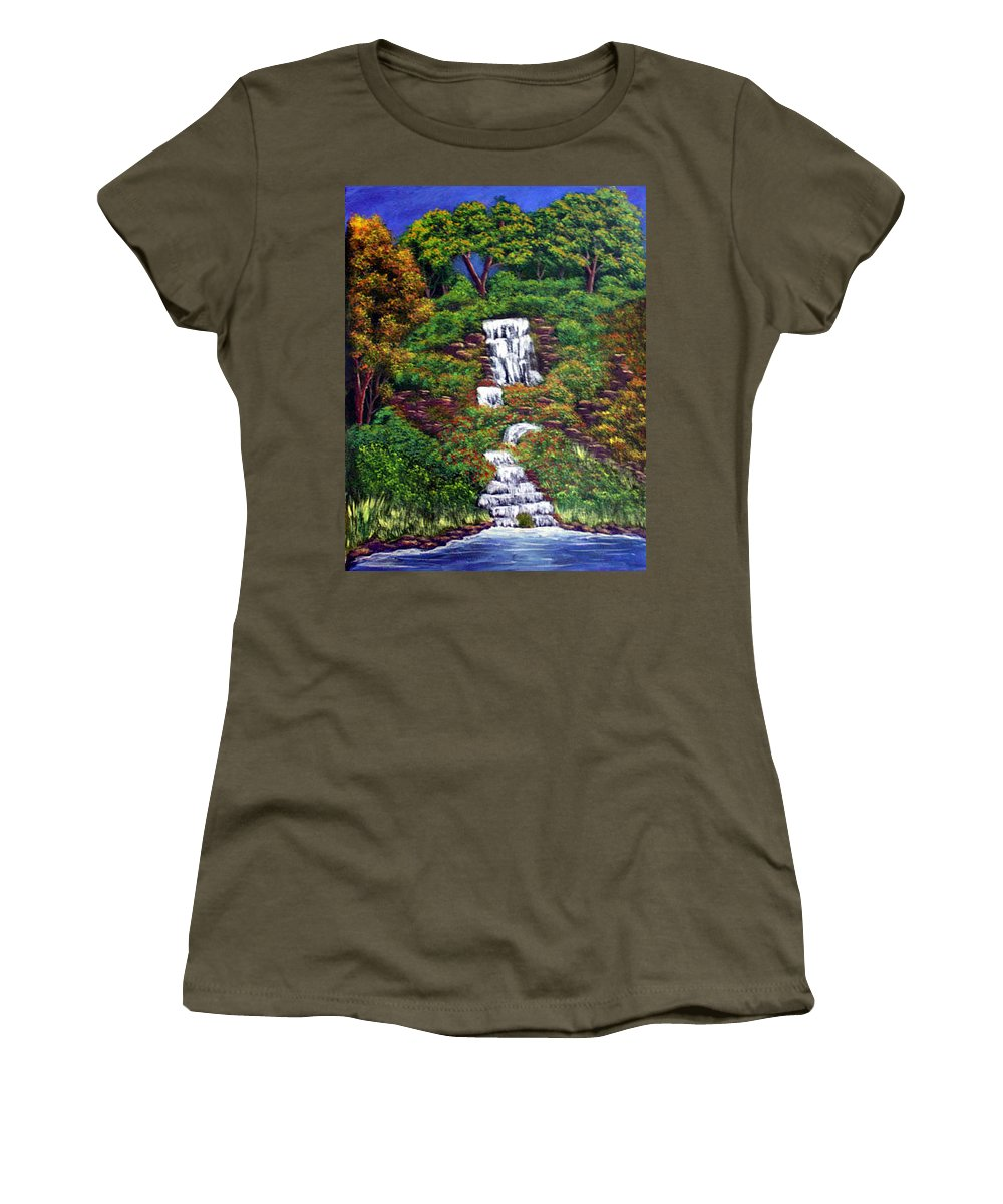 Waterfall Women's T-Shirt (Athletic Fit) featuring the painting Waterfall by Dawn Blair