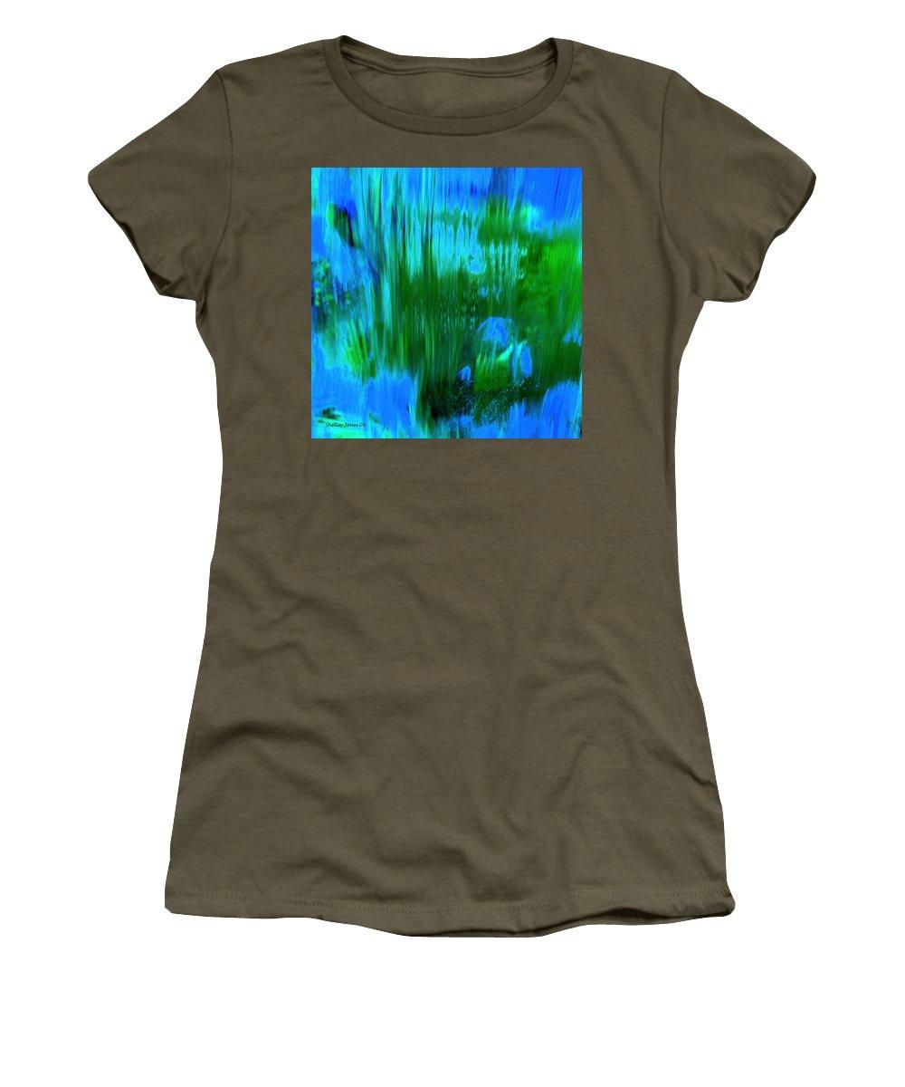Digital Art Women's T-Shirt (Athletic Fit) featuring the digital art Waterfall by Shelley Jones