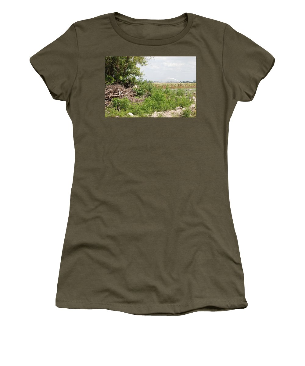 Leaves Women's T-Shirt (Athletic Fit) featuring the photograph Watering The Weeds by Rob Hans
