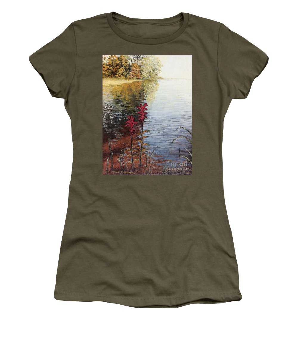 Landscape Women's T-Shirt (Athletic Fit) featuring the painting Watts Bar Lake Rockwood Tn by Todd A Blanchard
