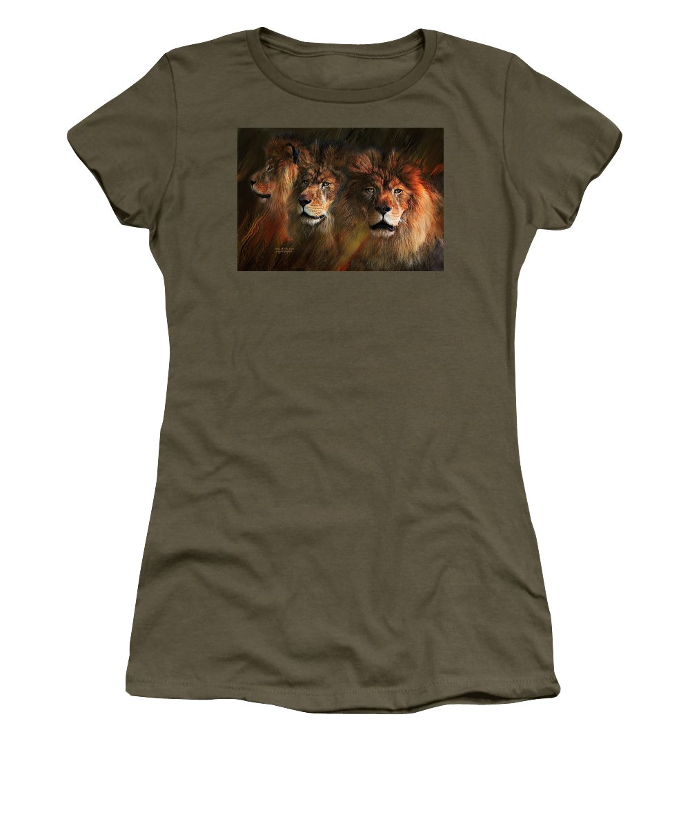 Lion Women's T-Shirt (Athletic Fit) featuring the mixed media Way Of The Lion by Carol Cavalaris
