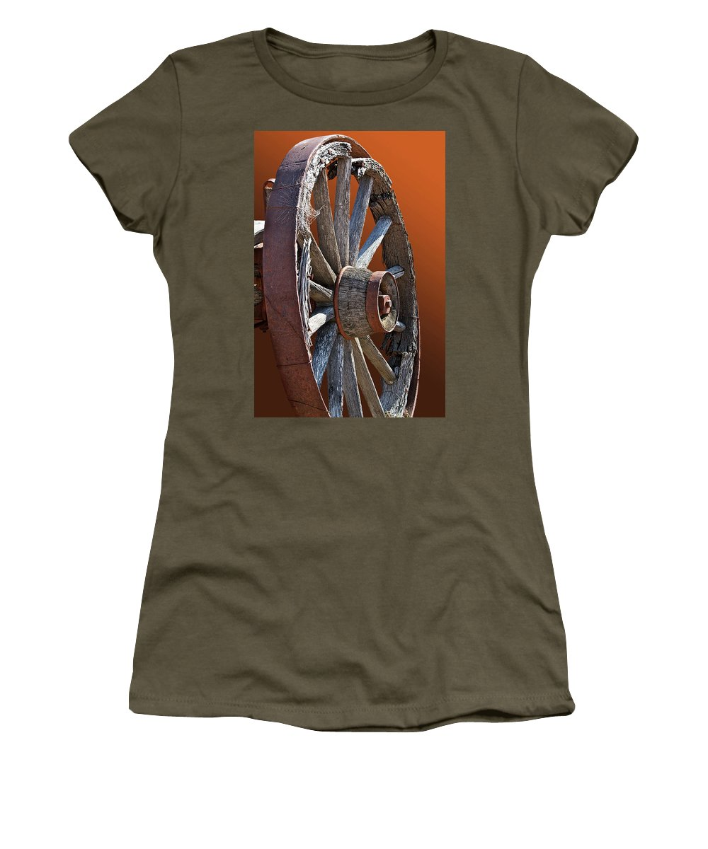 Wheel Women's T-Shirt featuring the photograph Weathered Wagon Wheel by Phyllis Denton