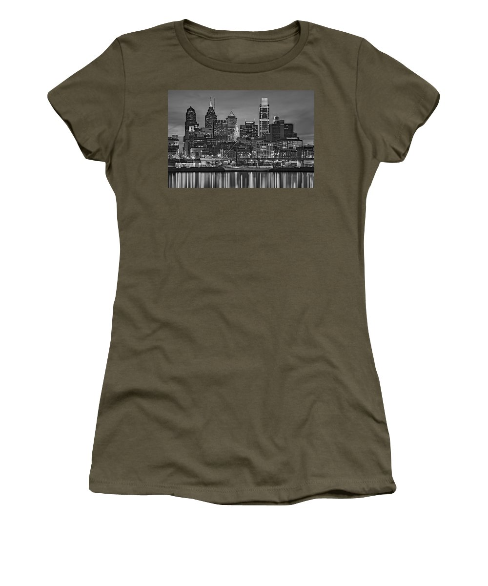 Philadelphia Skyline Women's T-Shirt (Athletic Fit) featuring the photograph Welcome To Penn's Landing Bw by Susan Candelario