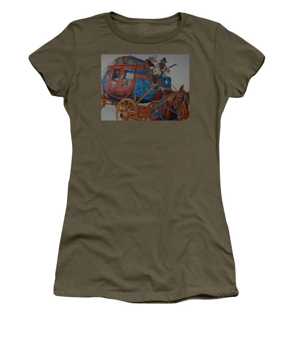 Mural Women's T-Shirt (Athletic Fit) featuring the photograph Wells Fargo Stagecoach by Rob Hans