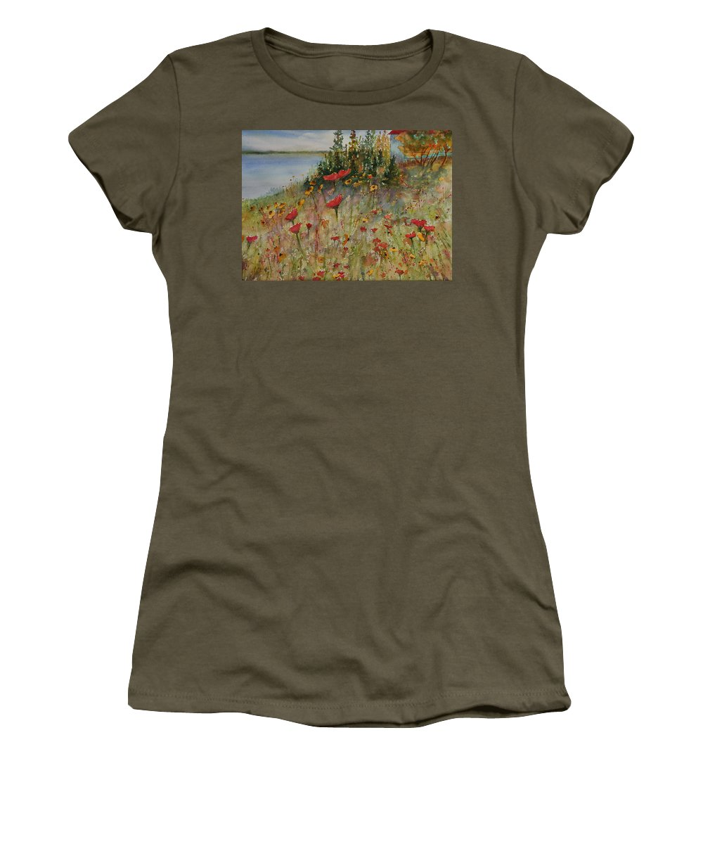Nature Women's T-Shirt (Athletic Fit) featuring the painting Wendy's Wildflowers by Ruth Kamenev