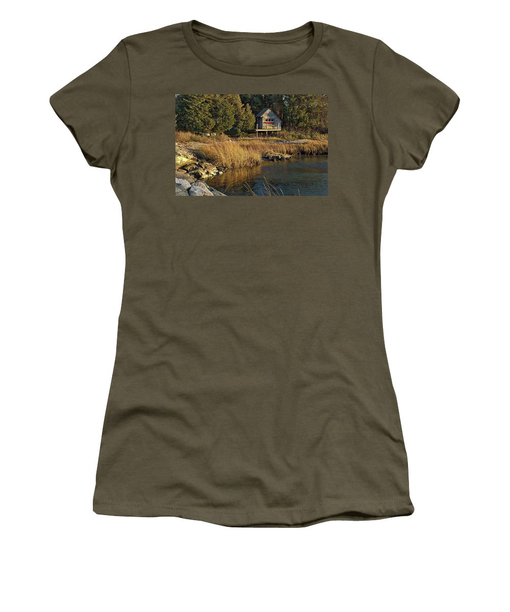 Cape Cod Women's T-Shirt (Athletic Fit) featuring the photograph West Falmouth Boathouse by Frank Fernino