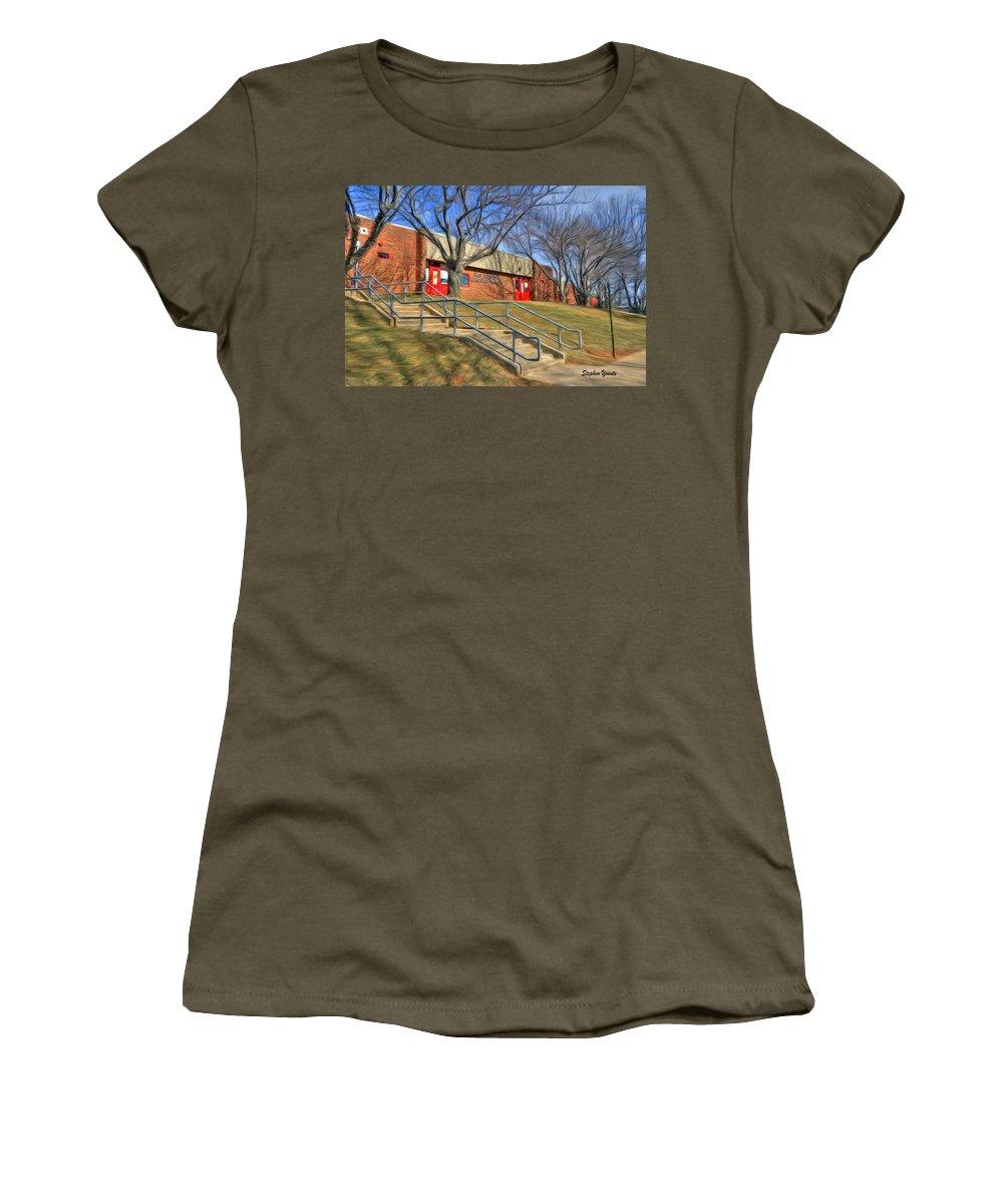 West Women's T-Shirt featuring the digital art West Friendship Elementary School by Stephen Younts