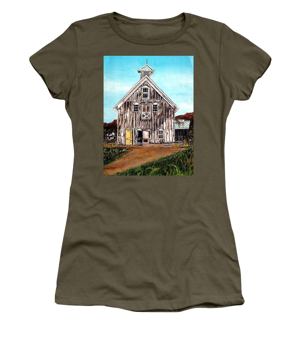 Follow @lindalsimon Barn Women's T-Shirt featuring the painting West Road Barn - All Rights Reserved by Linda Simon