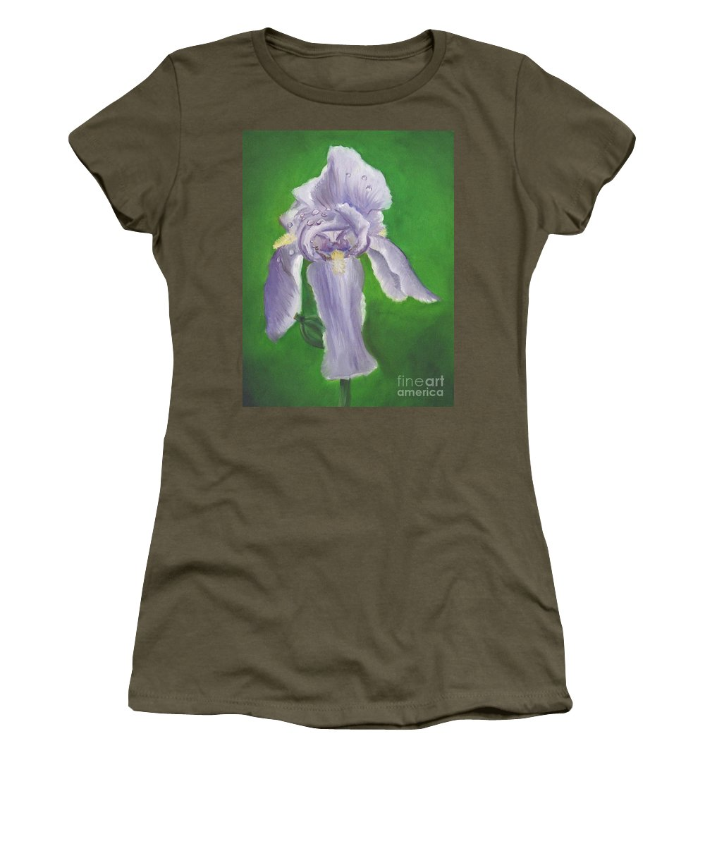 Iris Women's T-Shirt (Athletic Fit) featuring the painting Wet Iris by Mendy Pedersen