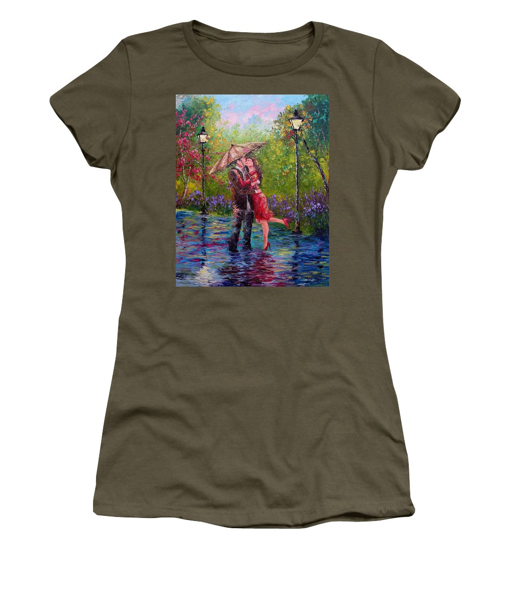 Kiss Women's T-Shirt (Athletic Fit) featuring the painting Wet Kiss by David G Paul