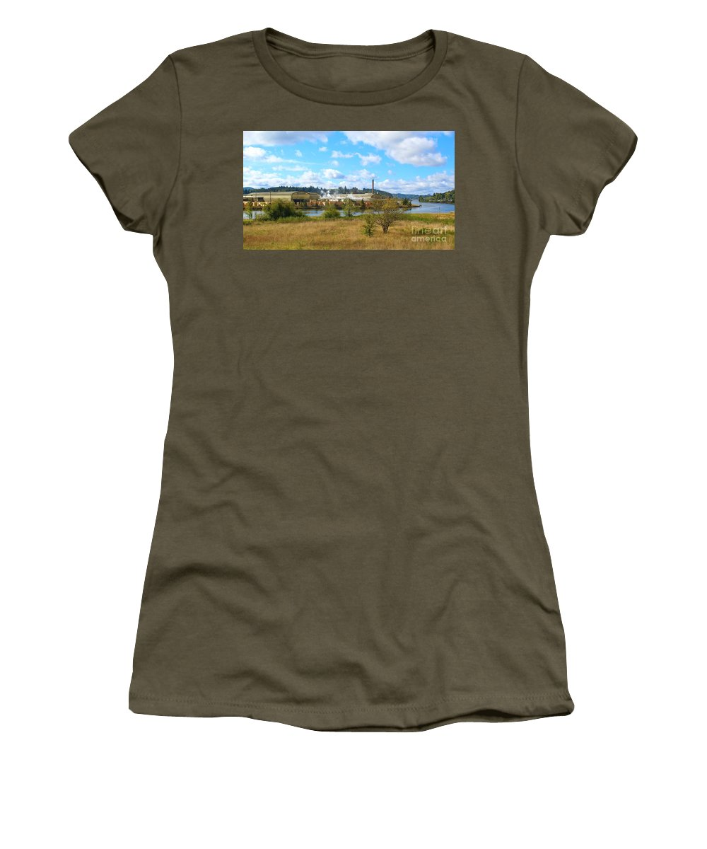 Factory Women's T-Shirt featuring the photograph Weyerhaeuser Lumber Mill by Jane Powell