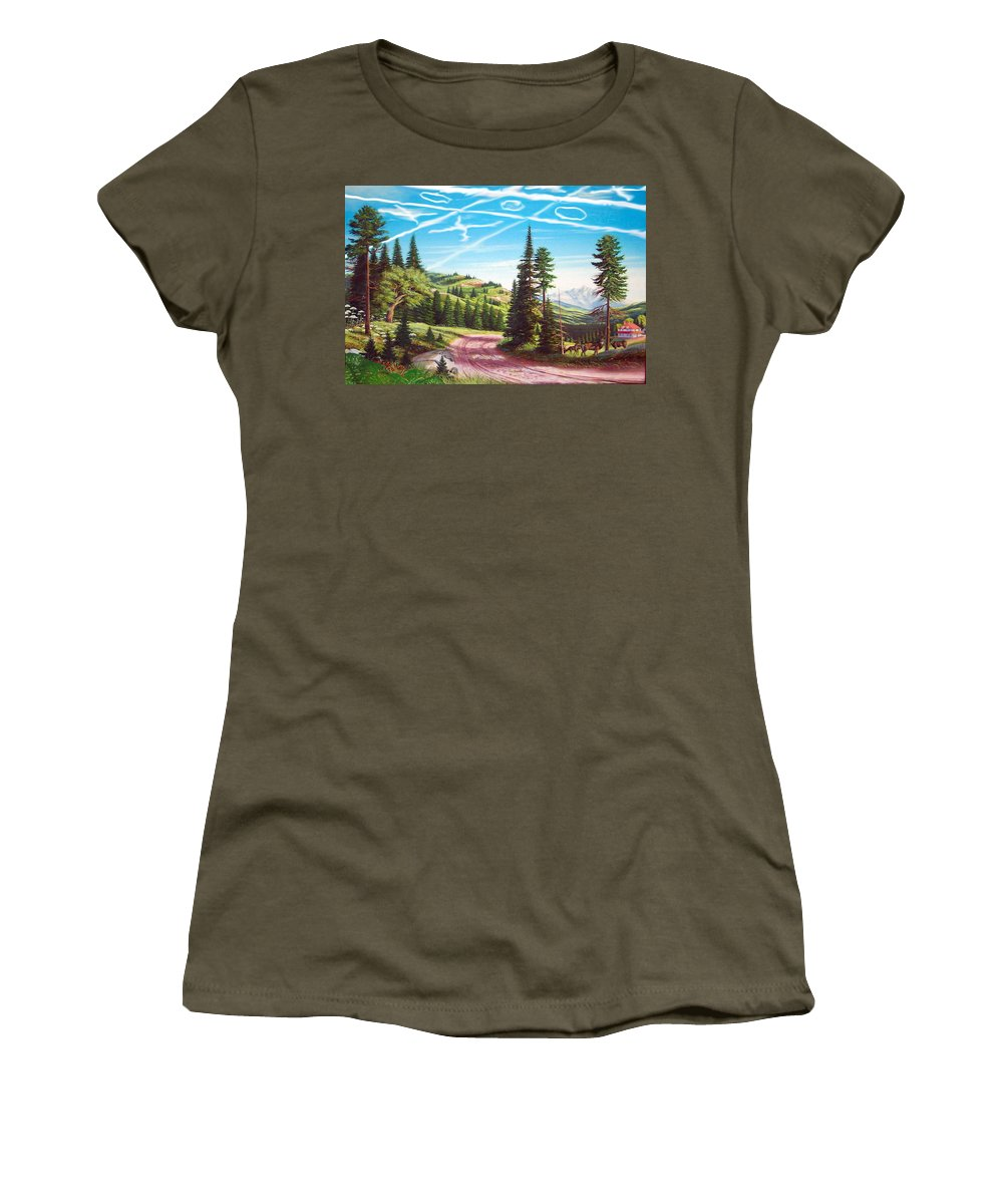 Landscape Women's T-Shirt featuring the mixed media What Can The Poor Deer Do by Stan Siemionkowicz