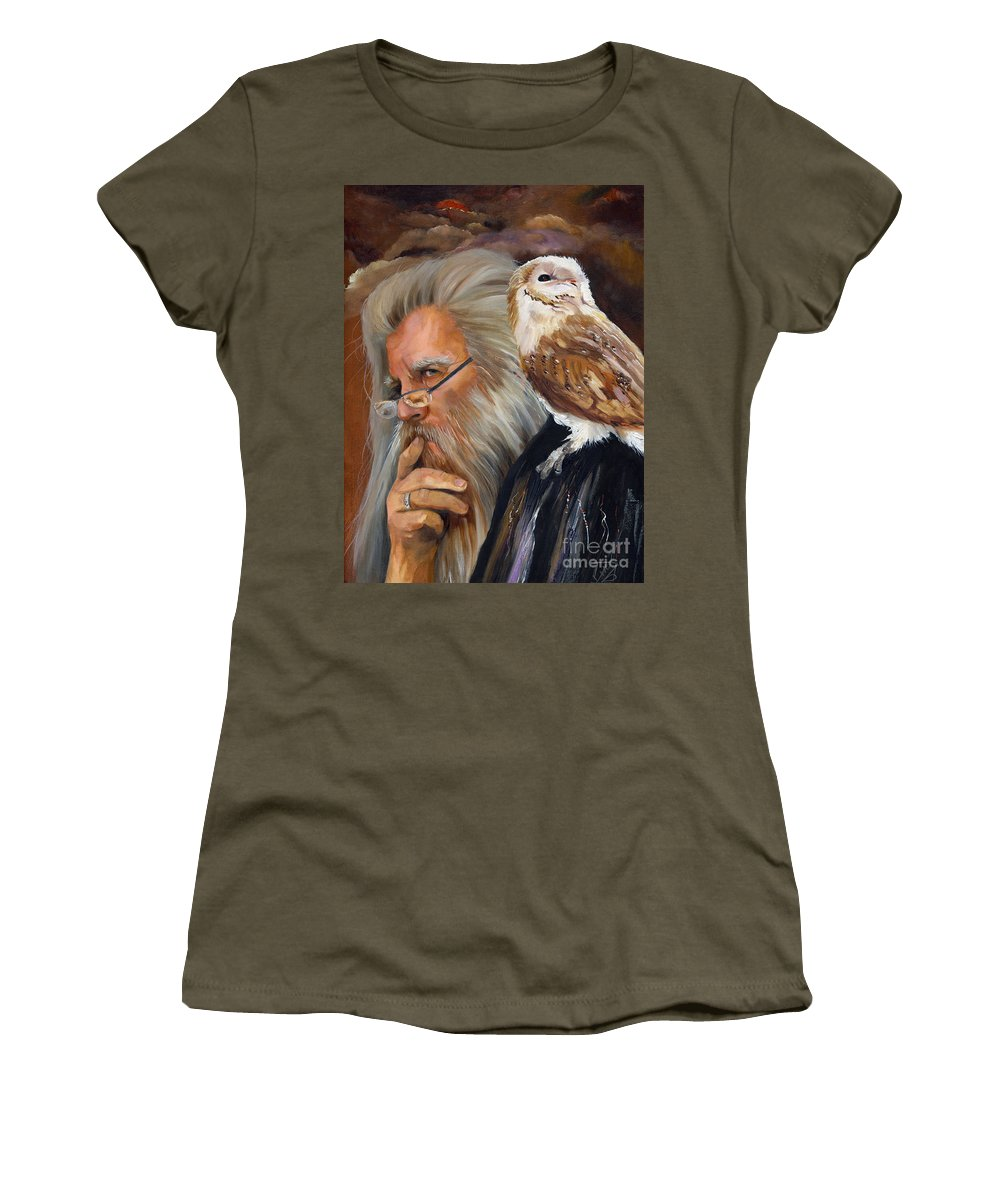Wizard Women's T-Shirt (Athletic Fit) featuring the painting What If... by J W Baker