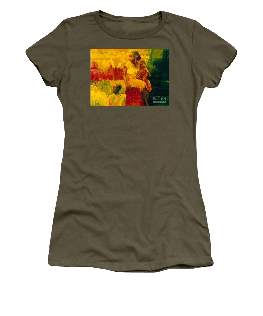What Is It Ma? 1994 (oil On Board) By Bayo Iribhogbe (contemporary Artist) Women's T-Shirt featuring the painting What Is It Ma by Bayo Iribhogbe