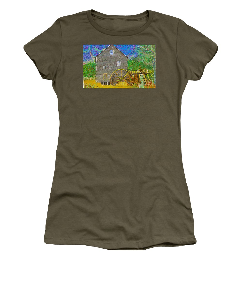 Impressionist Women's T-Shirt featuring the painting Water Wheel by Hidden Mountain