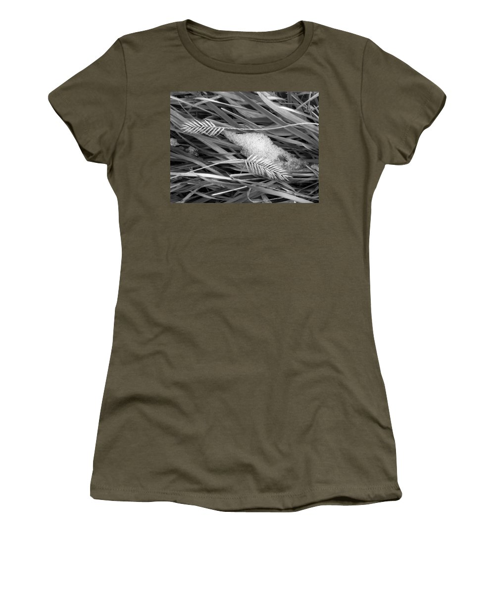 Wheat Women's T-Shirt (Athletic Fit) featuring the photograph Wheat And Ice by Marilyn Hunt