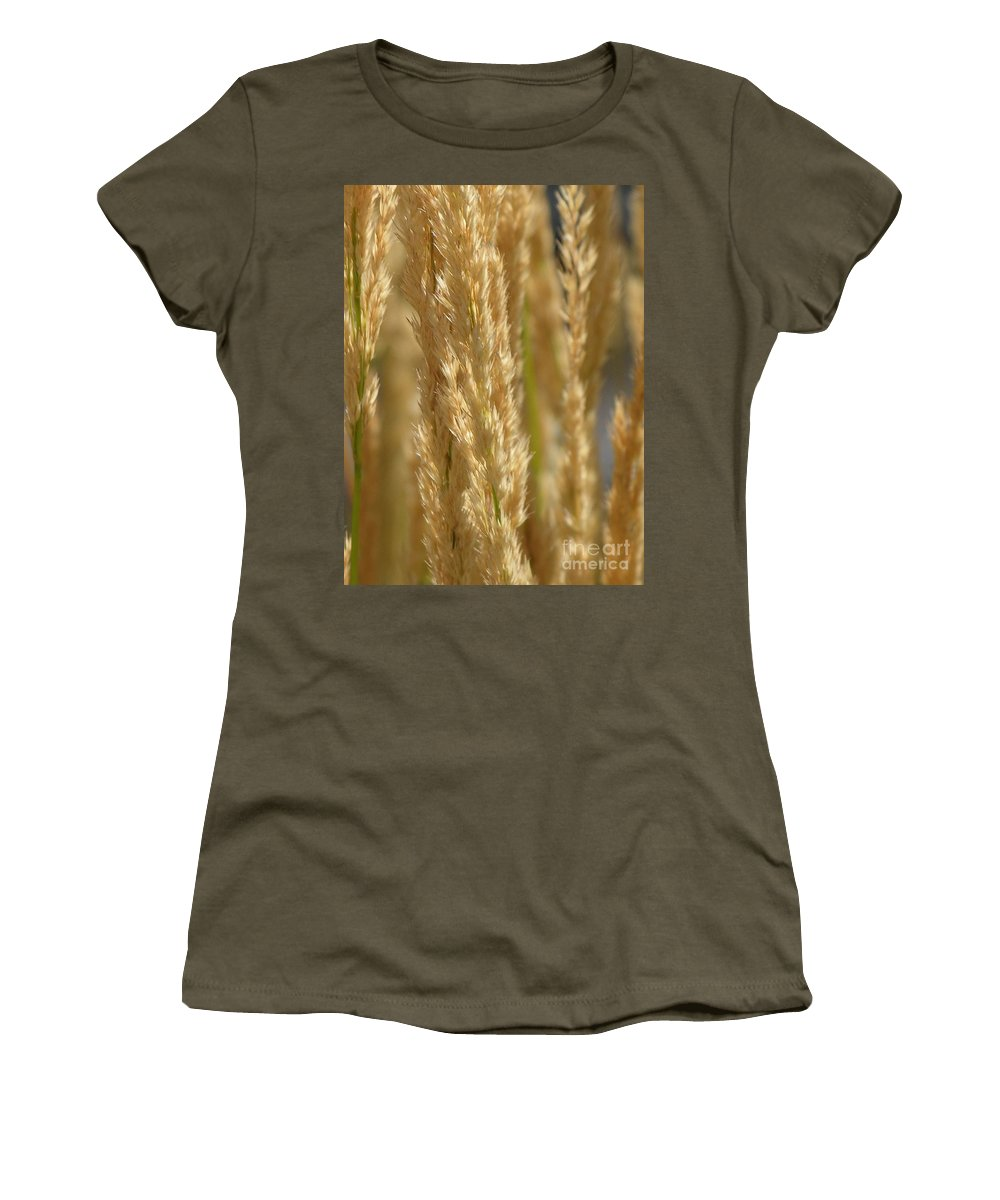 Wheat Women's T-Shirt (Athletic Fit) featuring the photograph Wheat Stalks by Diane Greco-Lesser