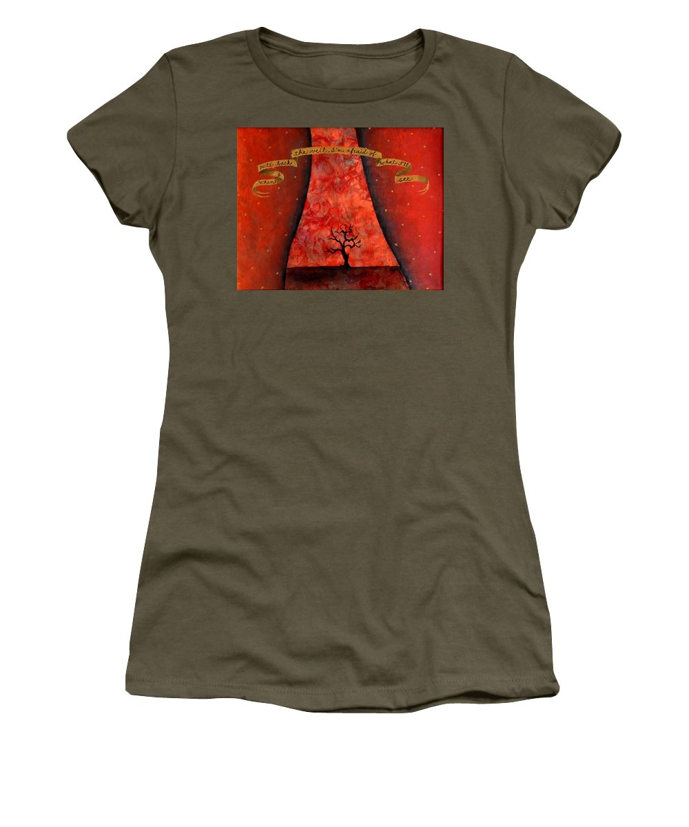 Landscape Women's T-Shirt (Athletic Fit) featuring the painting When I Pull Back The Veil by Pauline Lim