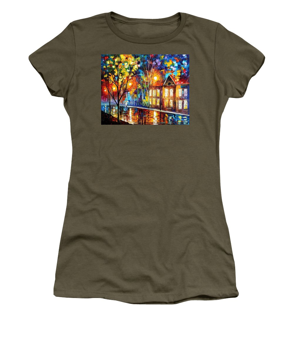 Art Gallery Women's T-Shirt featuring the painting When The City Sleeps 2 - Palette Knife Oil Painting On Canvas By Leonid Afremov by Leonid Afremov