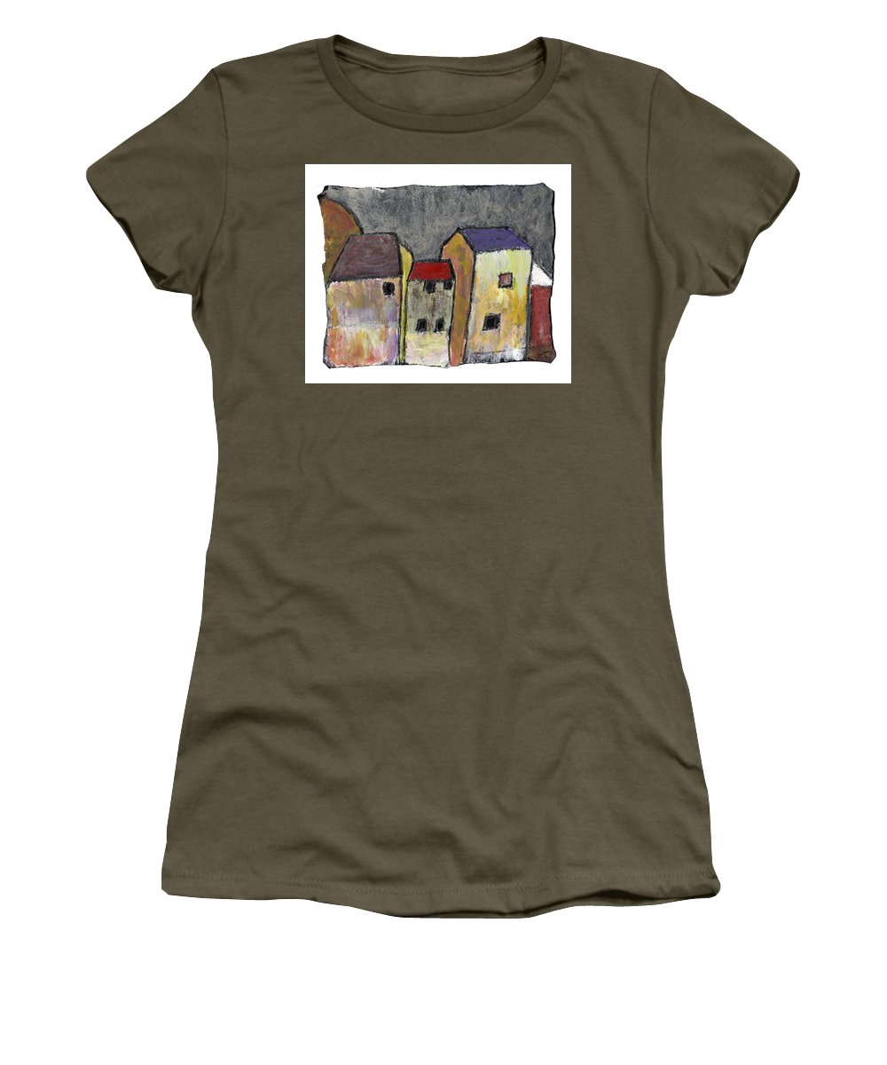 Buildings Women's T-Shirt featuring the painting Where Once There Was by Wayne Potrafka