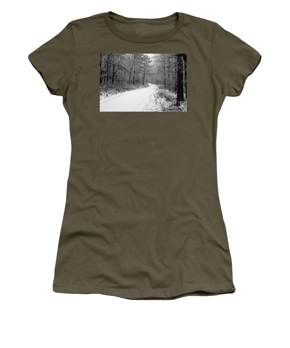 Winter Women's T-Shirt (Athletic Fit) featuring the photograph Where Will It Lead by Jean Macaluso