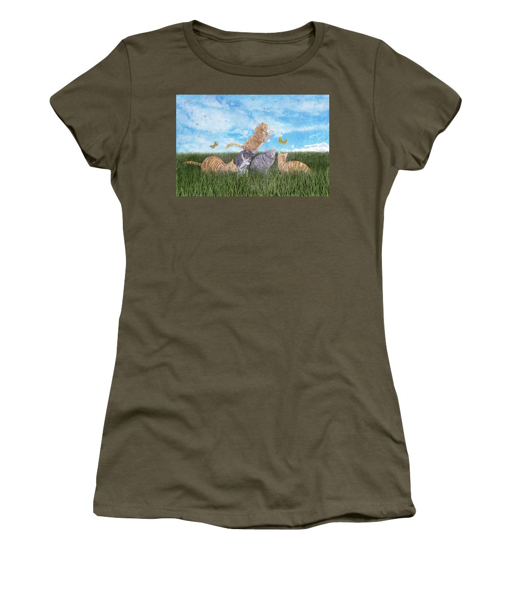Fantasy Women's T-Shirt featuring the digital art Whimsical Cats by Betsy Knapp
