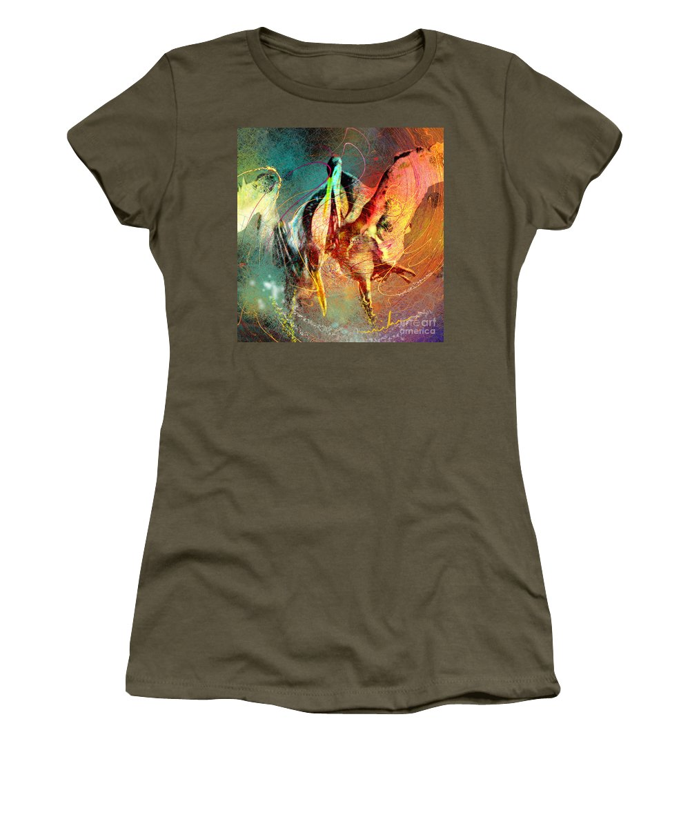 Miki Women's T-Shirt (Athletic Fit) featuring the painting Whirled In Digital Rainbow by Miki De Goodaboom