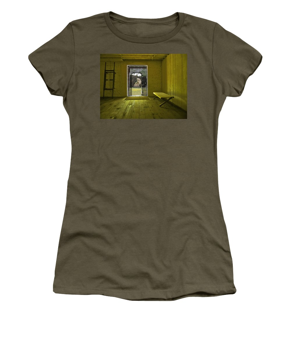 Jail Women's T-Shirt (Athletic Fit) featuring the photograph Whiskeytown Jail by Karen W Meyer