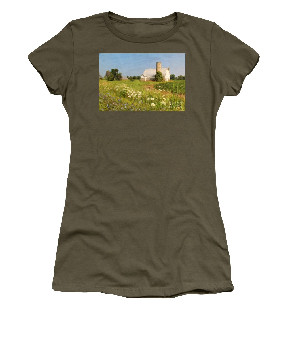 Barn Women's T-Shirt (Athletic Fit) featuring the photograph White Barn In Michigan by Susan Grube
