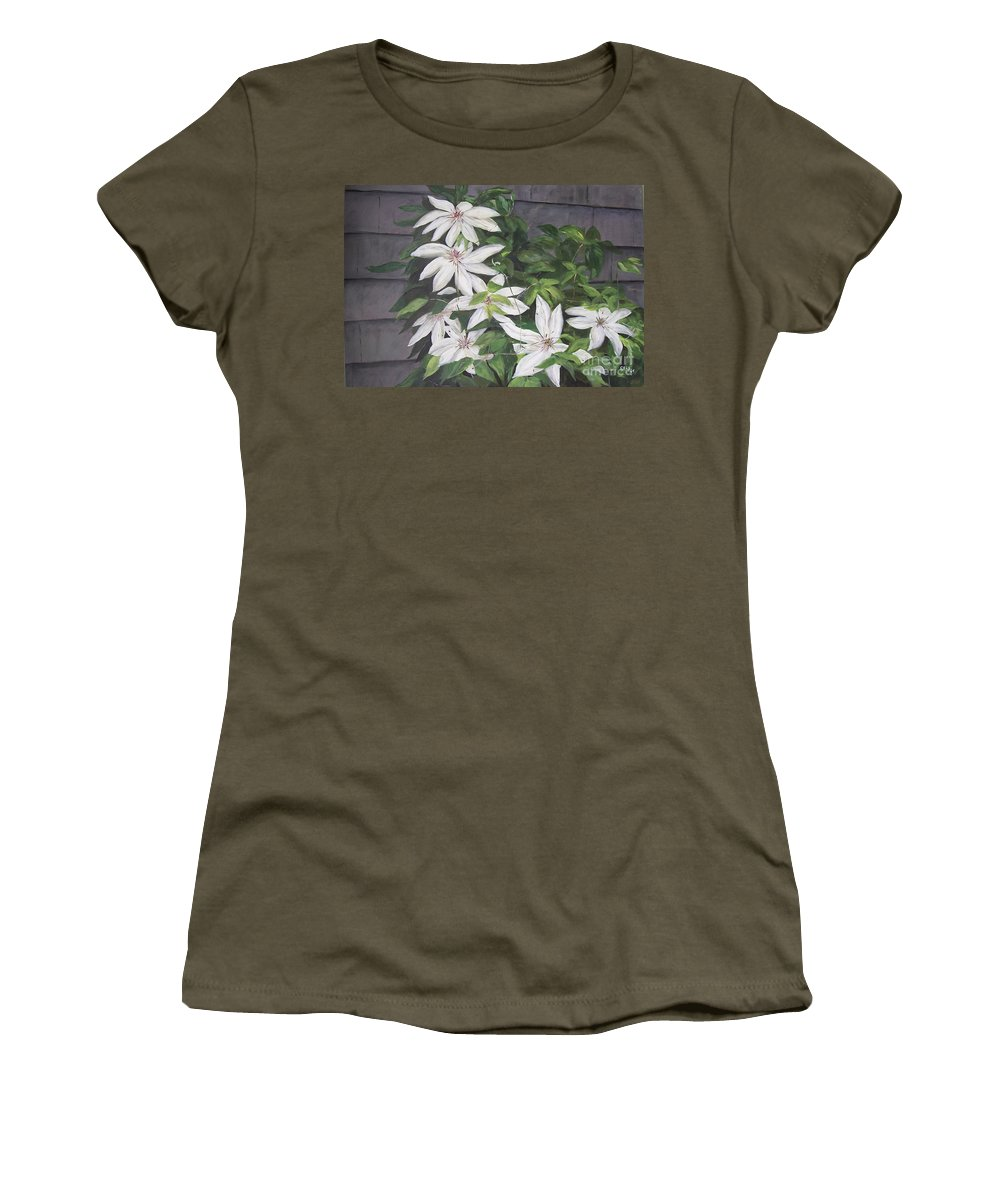 Floral Women's T-Shirt (Athletic Fit) featuring the painting White Clematis by Elizabeth Ellis