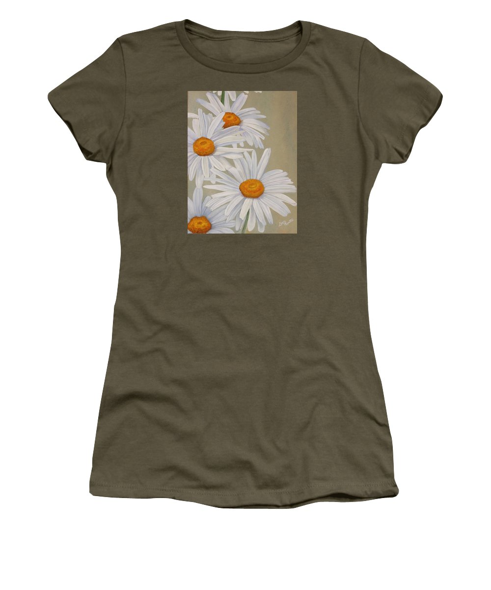 White Daisies Women's T-Shirt featuring the painting White Daisies by Angeles M Pomata