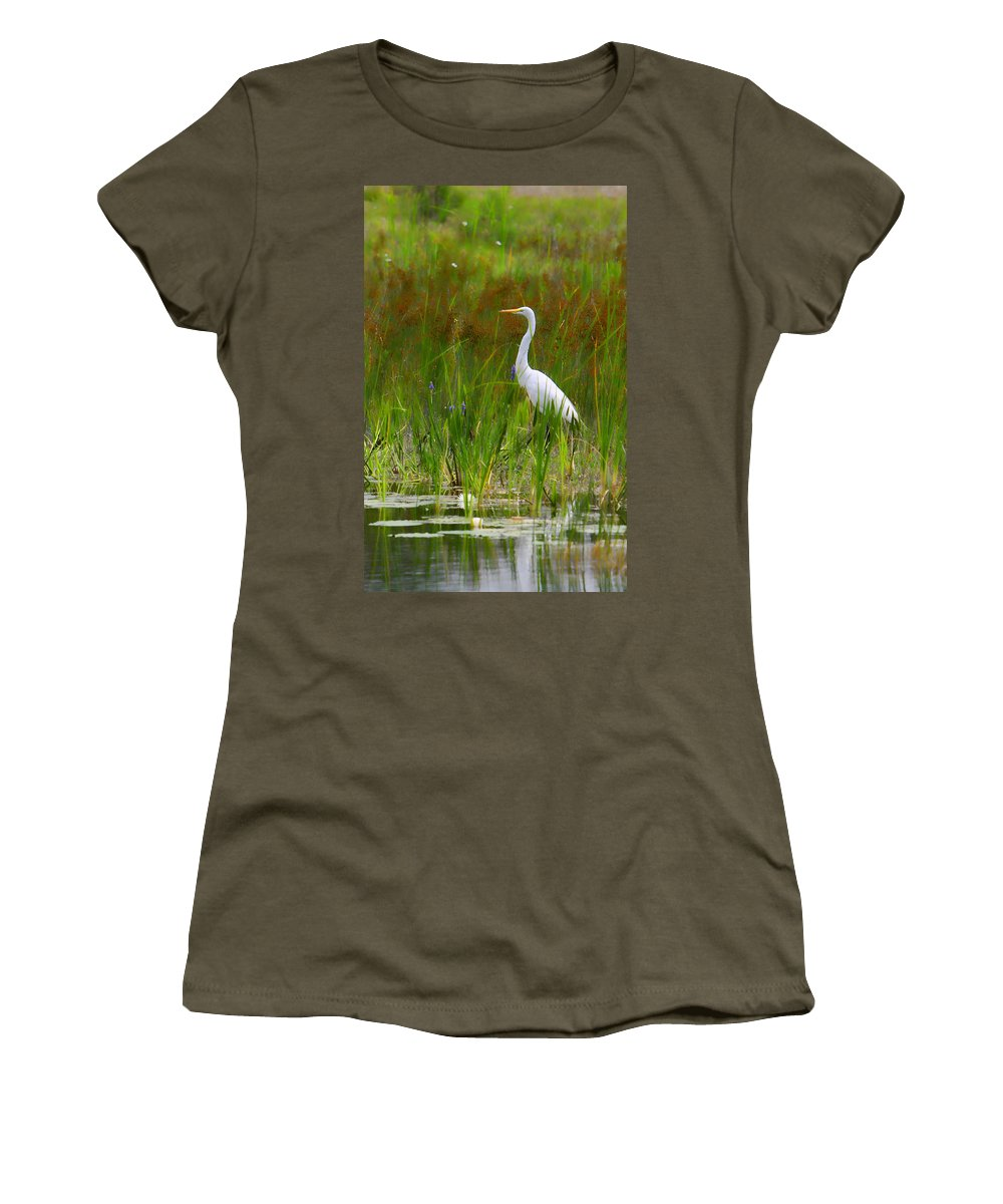 Bird Egret White Florida Swamp Pond Photograph Photography Women's T-Shirt featuring the photograph White Egret In Waiting by Shari Jardina
