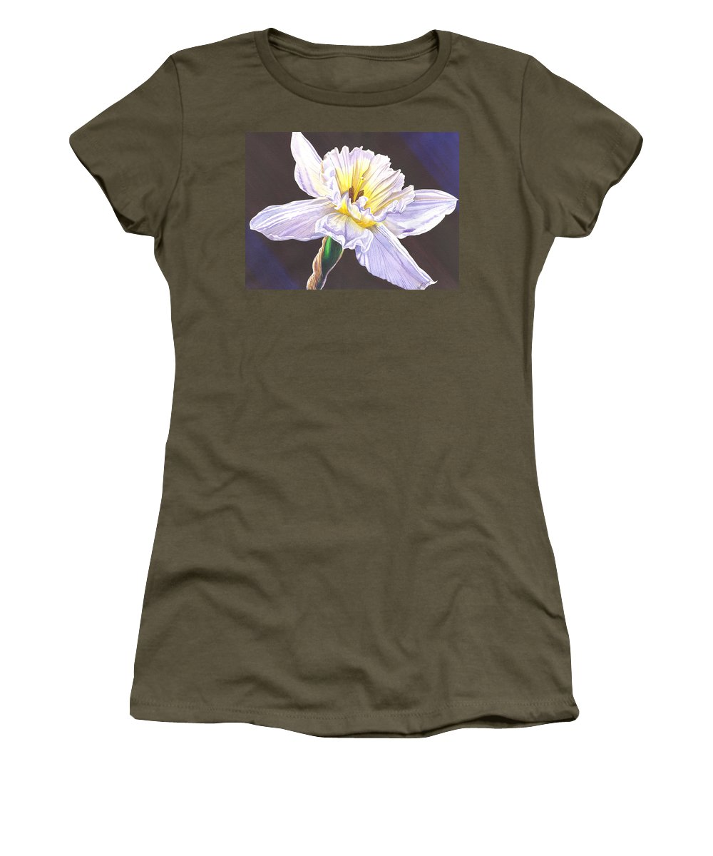 Daffodil Women's T-Shirt (Athletic Fit) featuring the painting White Jonquil by Catherine G McElroy