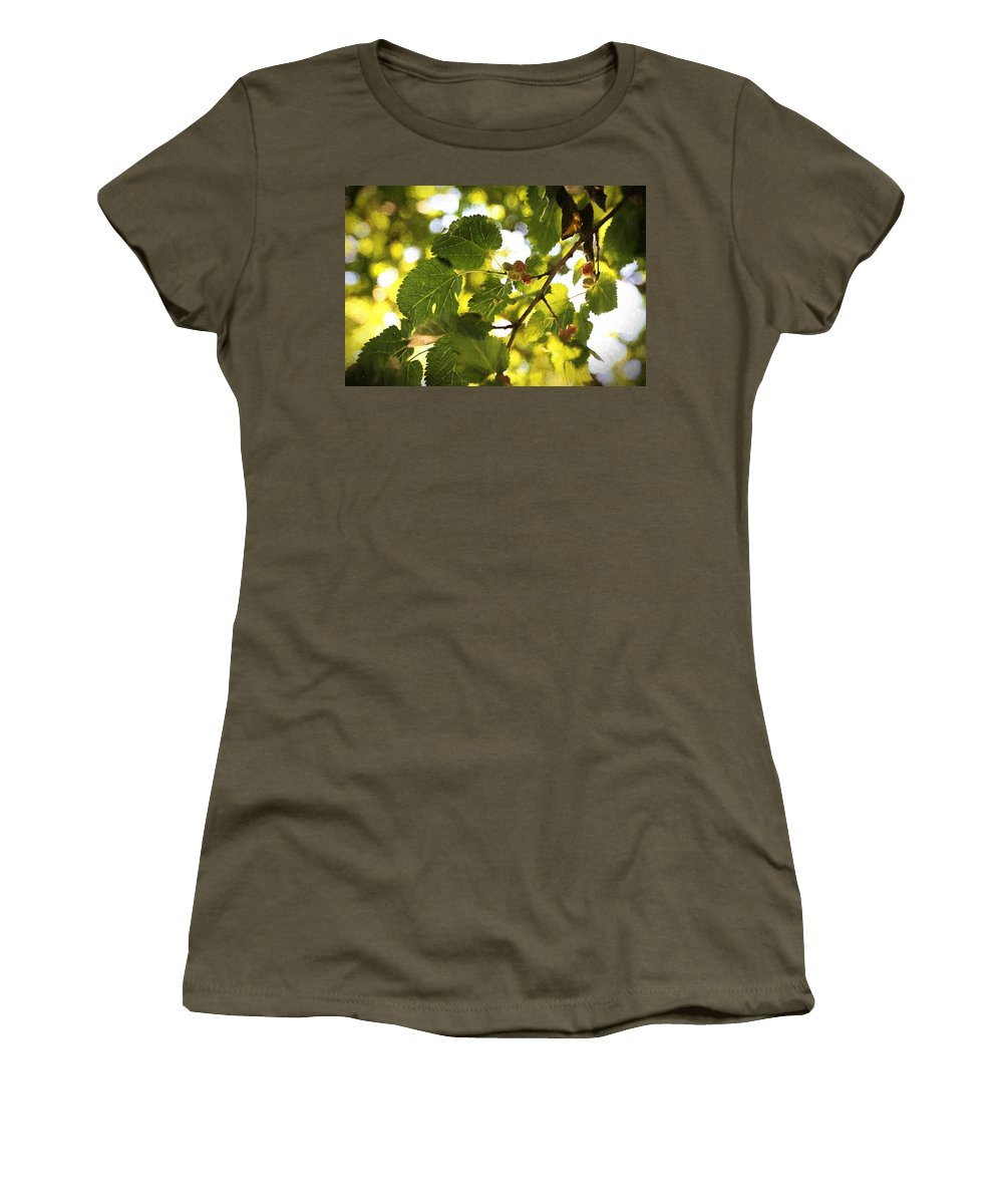 Mulberries Women's T-Shirt featuring the painting White Mulberries by Theresa Campbell