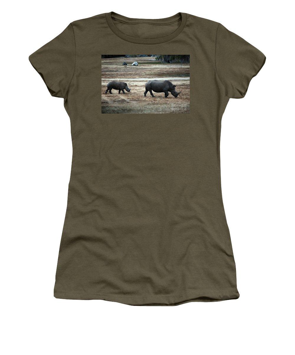 White Rhino's Women's T-Shirt featuring the photograph White Rhino's by Robert Meanor