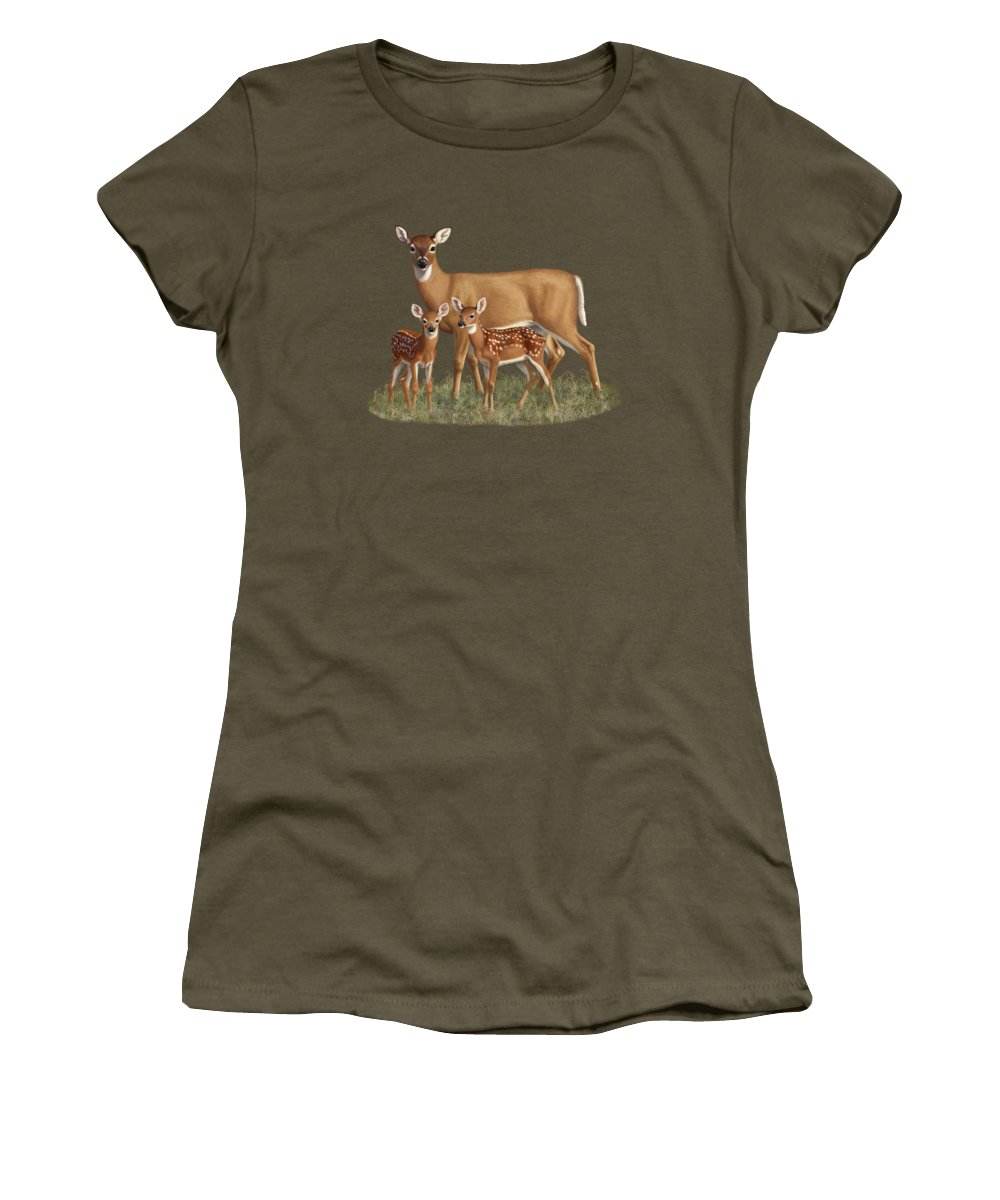 Whitetail Deer Women's T-Shirt (Junior Cut) featuring the painting Whitetail Doe And Fawns - Mom's Little Spring Blossoms by Crista Forest